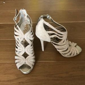 Shoes - SAM EDELMAN nude caged heels